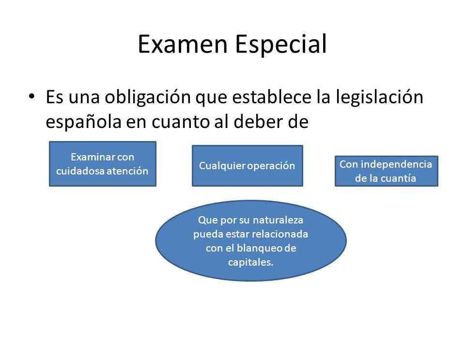 Examen Especial Es una obligación que establece la legislación española en cuanto al deber de. Examinar con cuidadosa atención.
