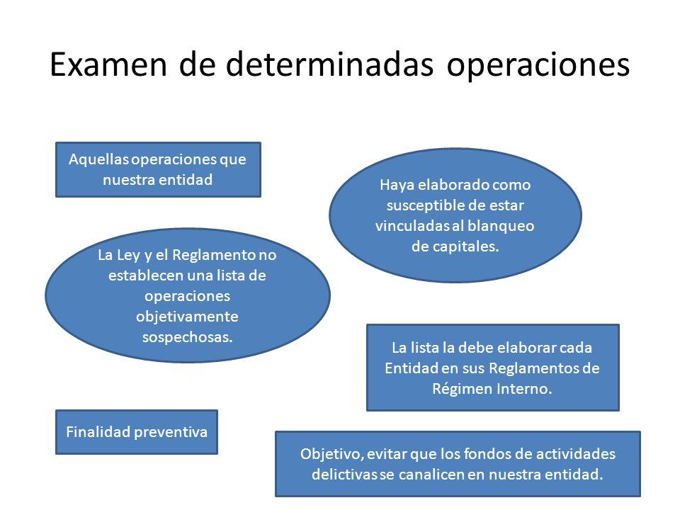 Examen de determinadas operaciones