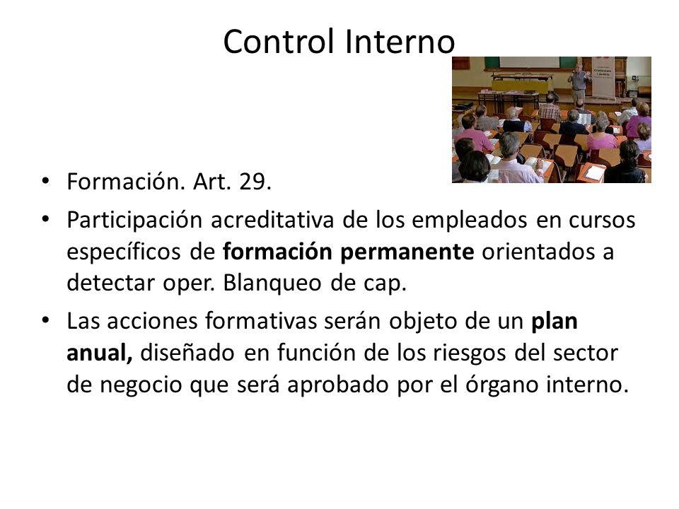 Control Interno Formación. Art. 29.