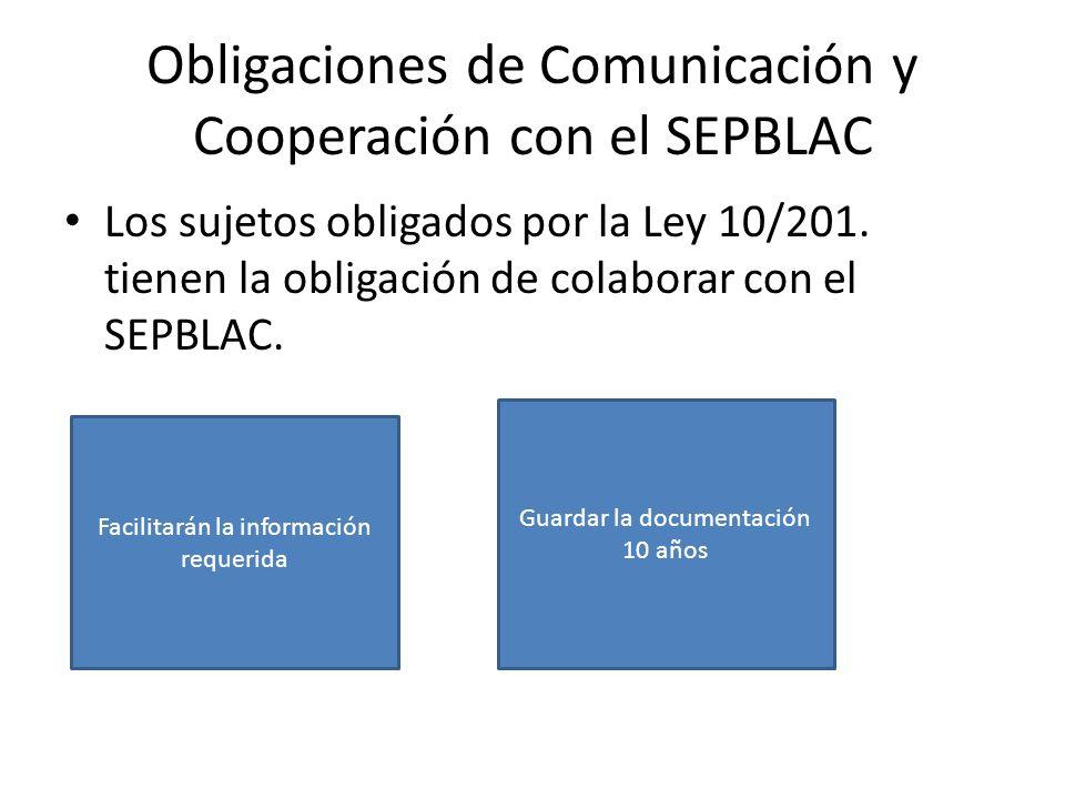 Obligaciones de Comunicación y Cooperación con el SEPBLAC