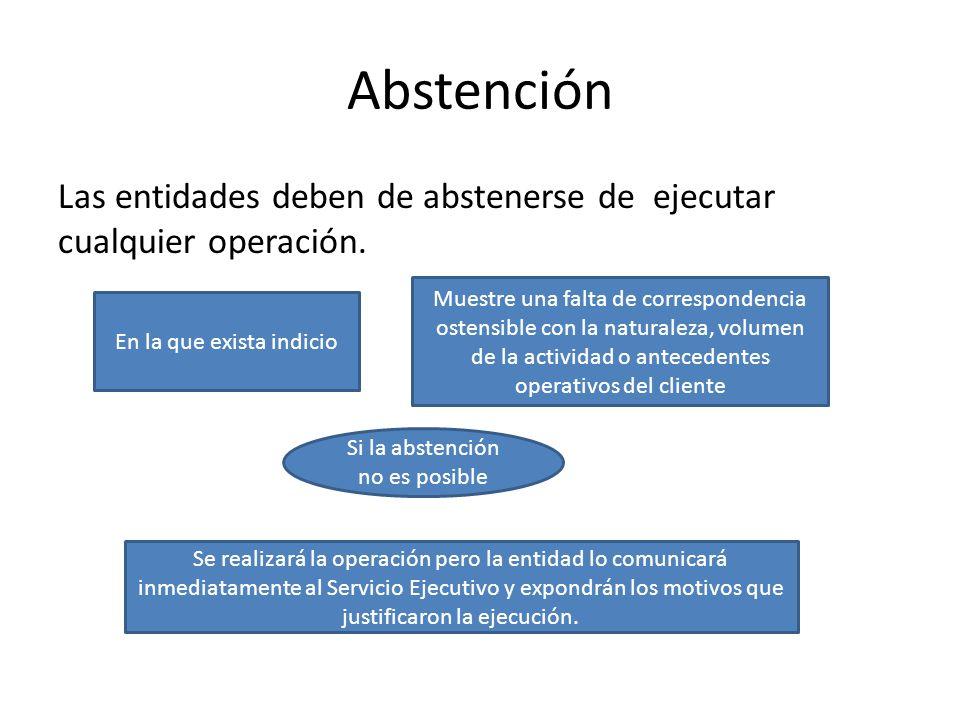 Abstención Las entidades deben de abstenerse de ejecutar cualquier operación.
