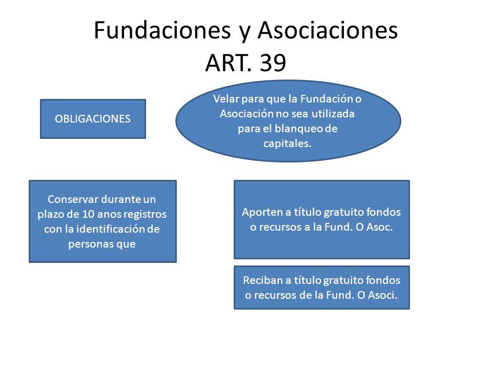 Fundaciones y Asociaciones ART. 39
