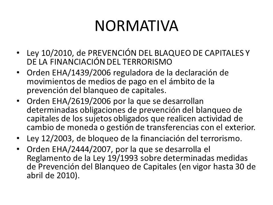 NORMATIVA Ley 10/2010, de PREVENCIÓN DEL BLAQUEO DE CAPITALES Y DE LA FINANCIACIÓN DEL TERRORISMO.