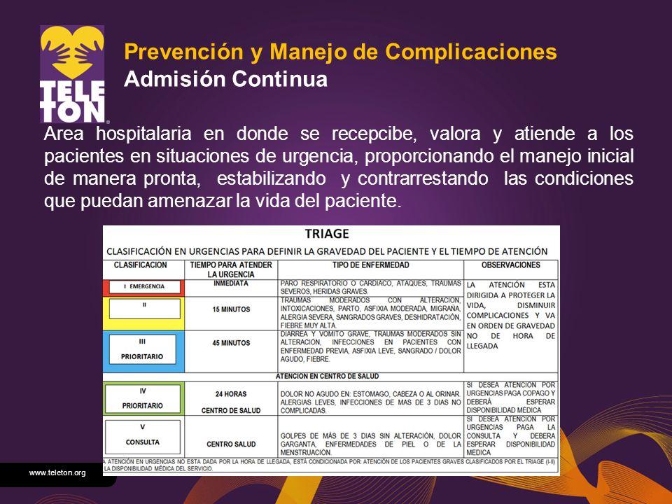 Prevención y Manejo de Complicaciones Admisión Continua