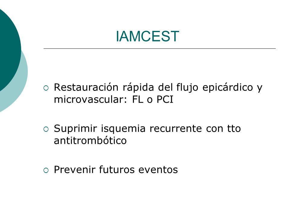 IAMCEST Restauración rápida del flujo epicárdico y microvascular: FL o PCI. Suprimir isquemia recurrente con tto antitrombótico.