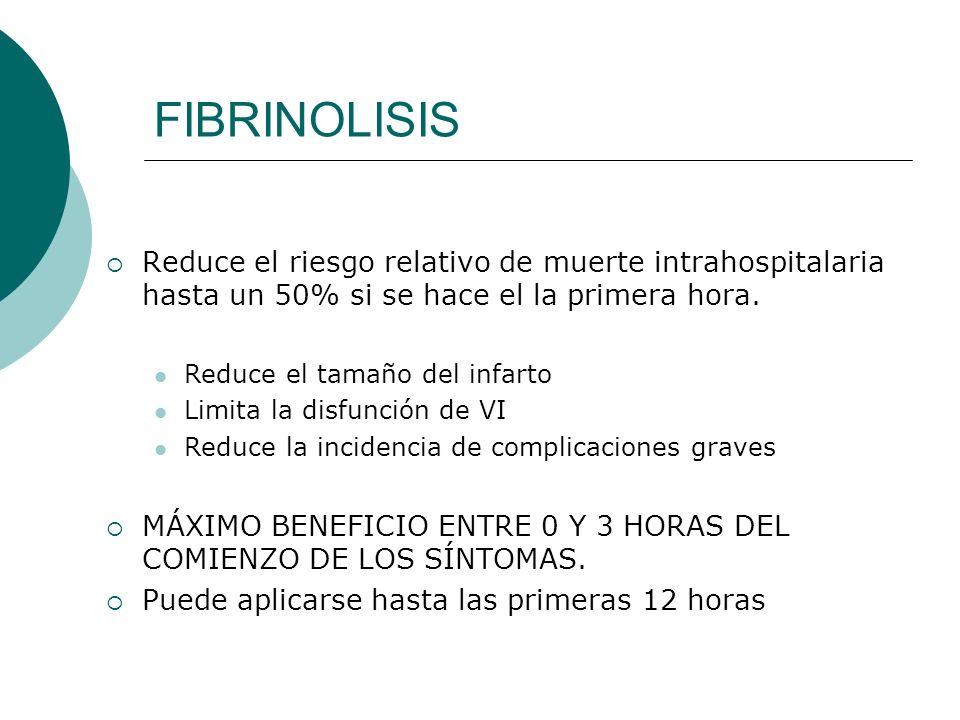 FIBRINOLISIS Reduce el riesgo relativo de muerte intrahospitalaria hasta un 50% si se hace el la primera hora.