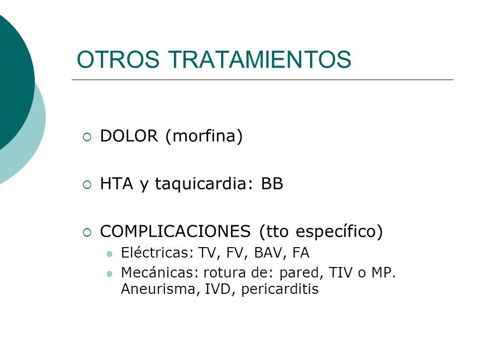 OTROS TRATAMIENTOS DOLOR (morfina) HTA y taquicardia: BB