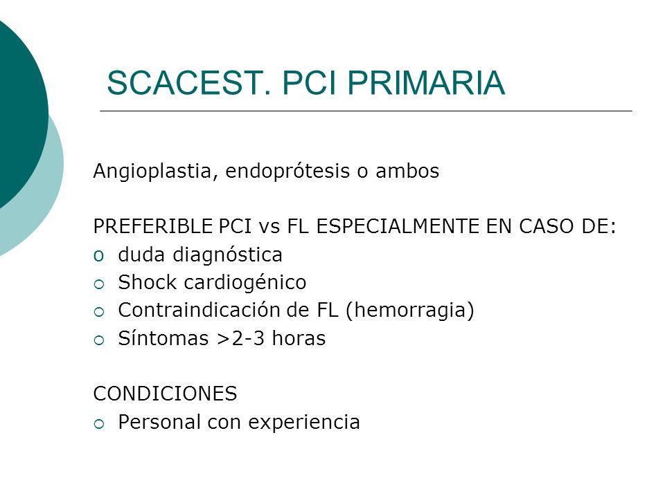 SCACEST. PCI PRIMARIA Angioplastia, endoprótesis o ambos