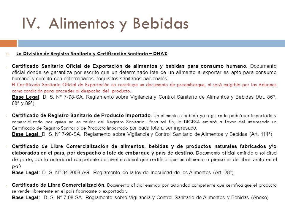 Alimentos y Bebidas La División de Registro Sanitario y Certificación Sanitaria – DHAZ.