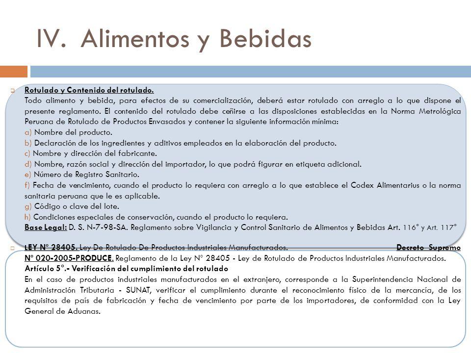Alimentos y Bebidas Rotulado y Contenido del rotulado.