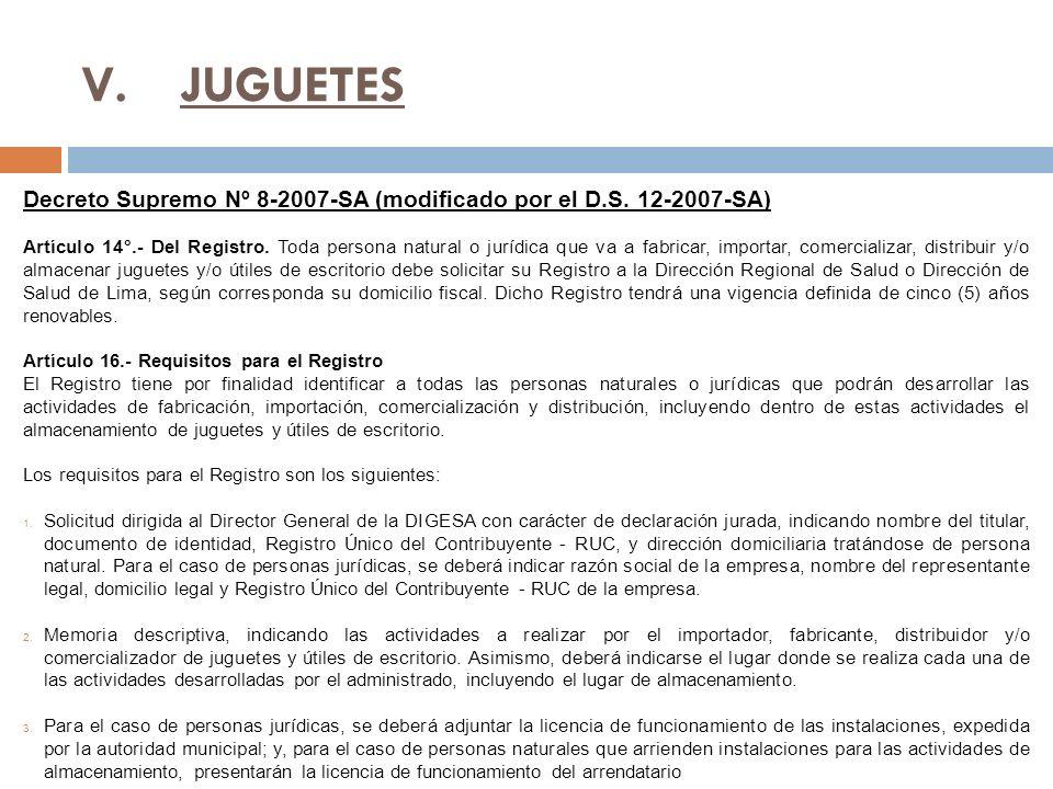 JUGUETES Decreto Supremo Nº 8-2007-SA (modificado por el D.S. 12-2007-SA)