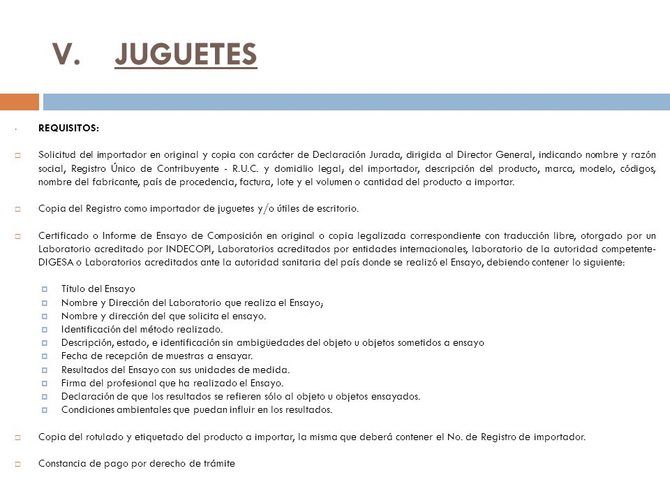 JUGUETES REQUISITOS: