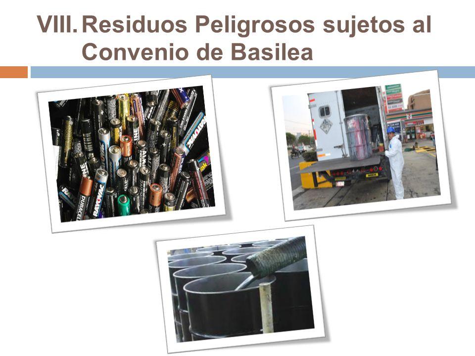 Residuos Peligrosos sujetos al Convenio de Basilea