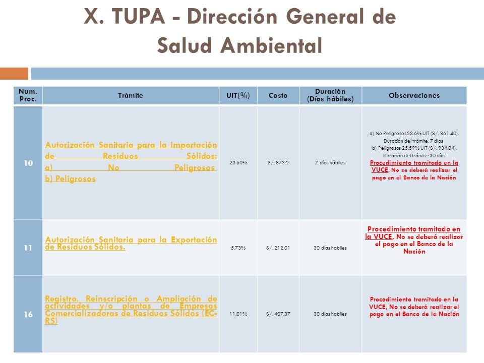 X. TUPA - Dirección General de Salud Ambiental