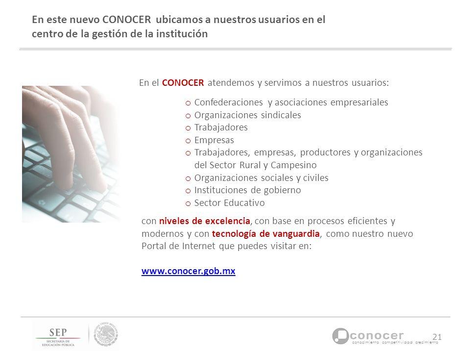 En este nuevo CONOCER ubicamos a nuestros usuarios en el centro de la gestión de la institución