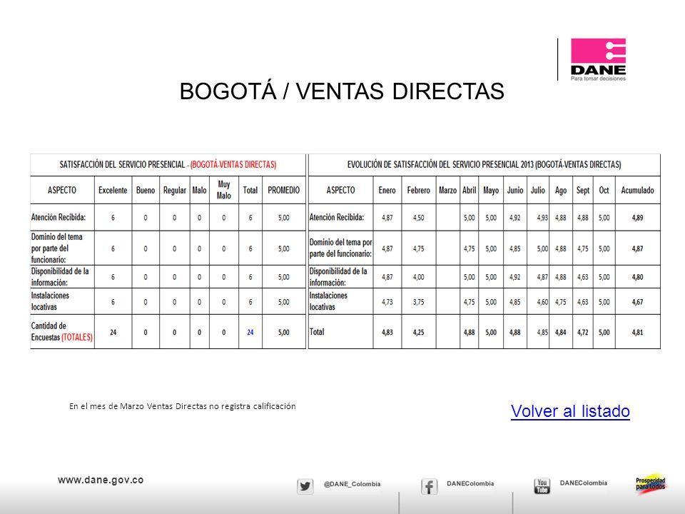 BOGOTÁ / VENTAS DIRECTAS