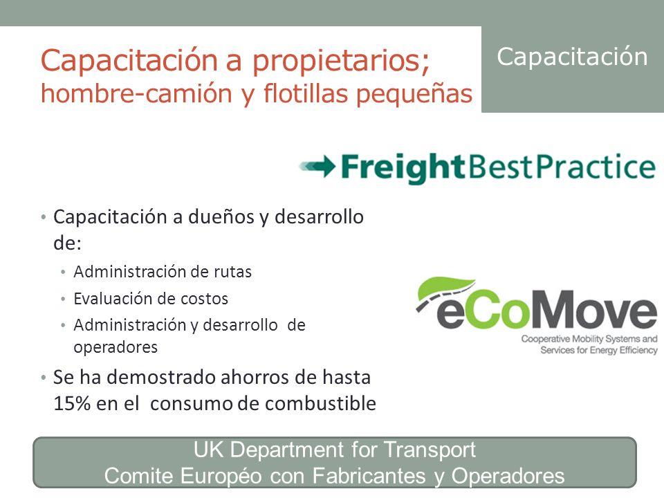 Capacitación a propietarios; hombre-camión y flotillas pequeñas