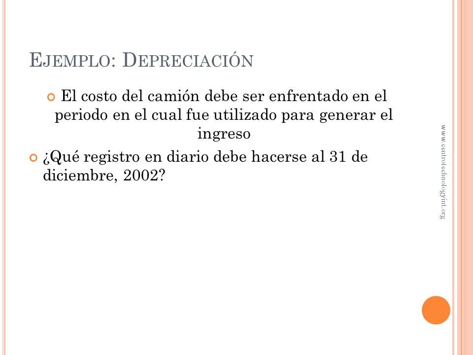 Ejemplo: Depreciación