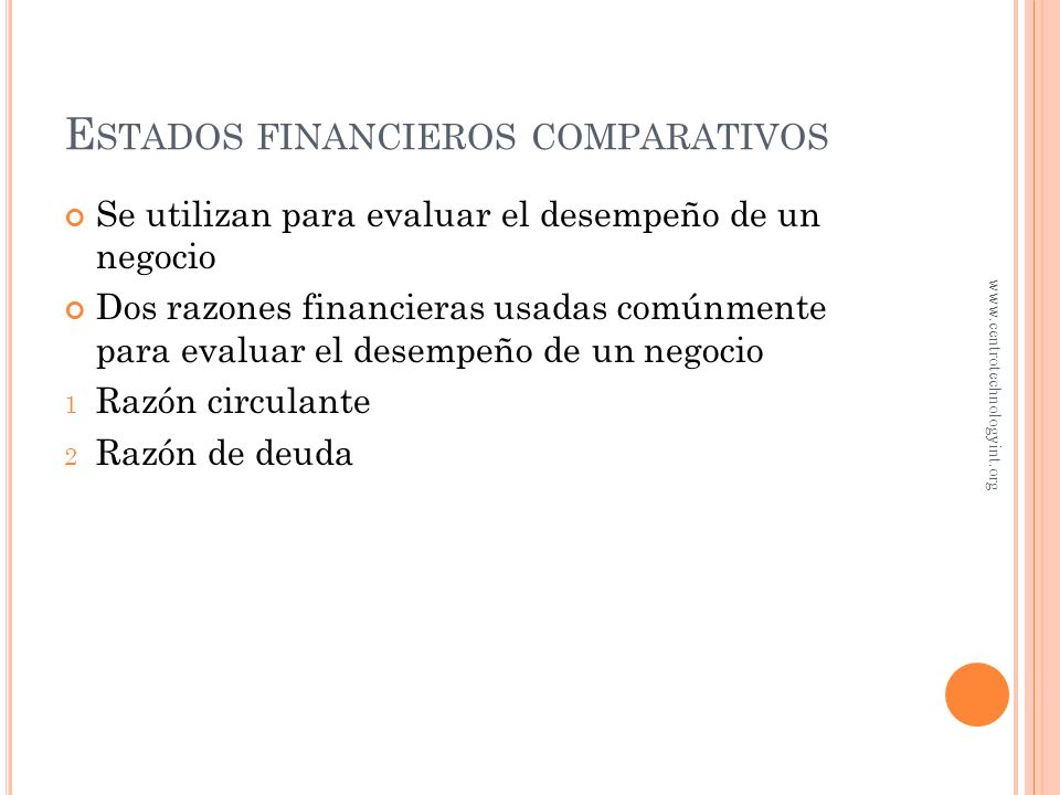 Estados financieros comparativos