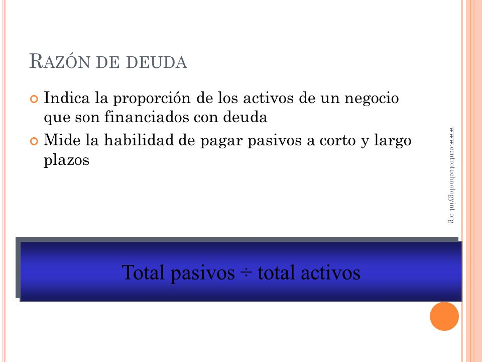 Total pasivos ÷ total activos