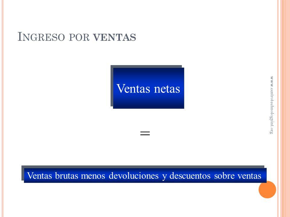 = Ventas netas Ingreso por ventas