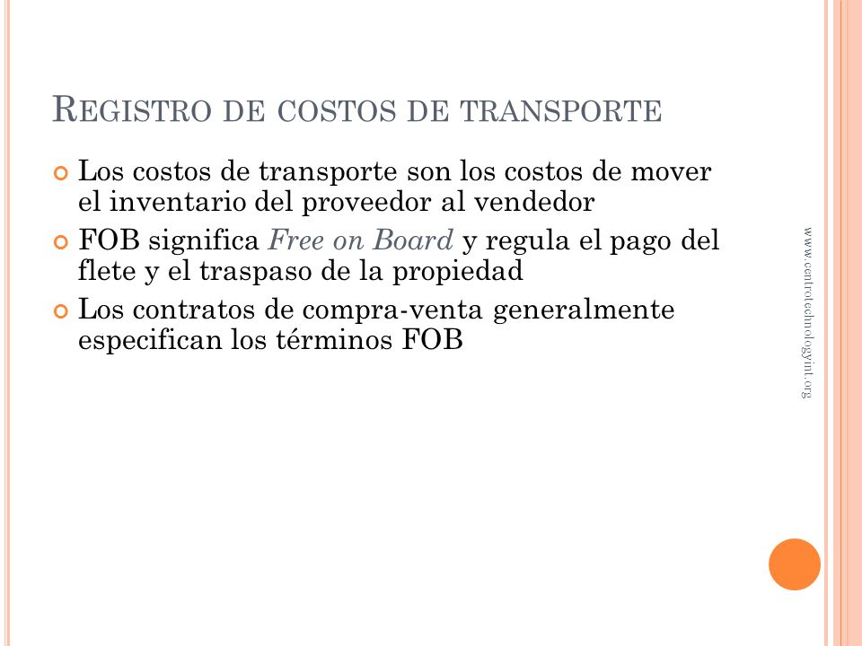 Registro de costos de transporte