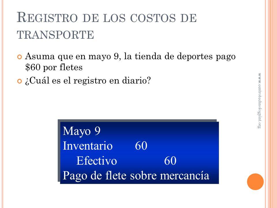 Registro de los costos de transporte