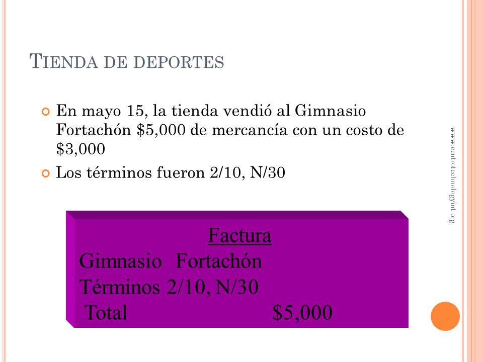 Factura Gimnasio Fortachón Términos 2/10, N/30 Total $5,000
