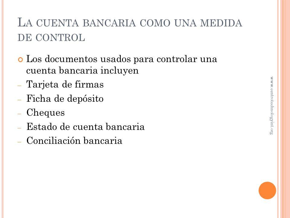 La cuenta bancaria como una medida de control