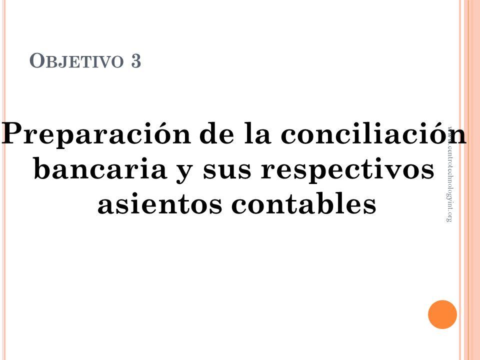 Preparación de la conciliación bancaria y sus respectivos