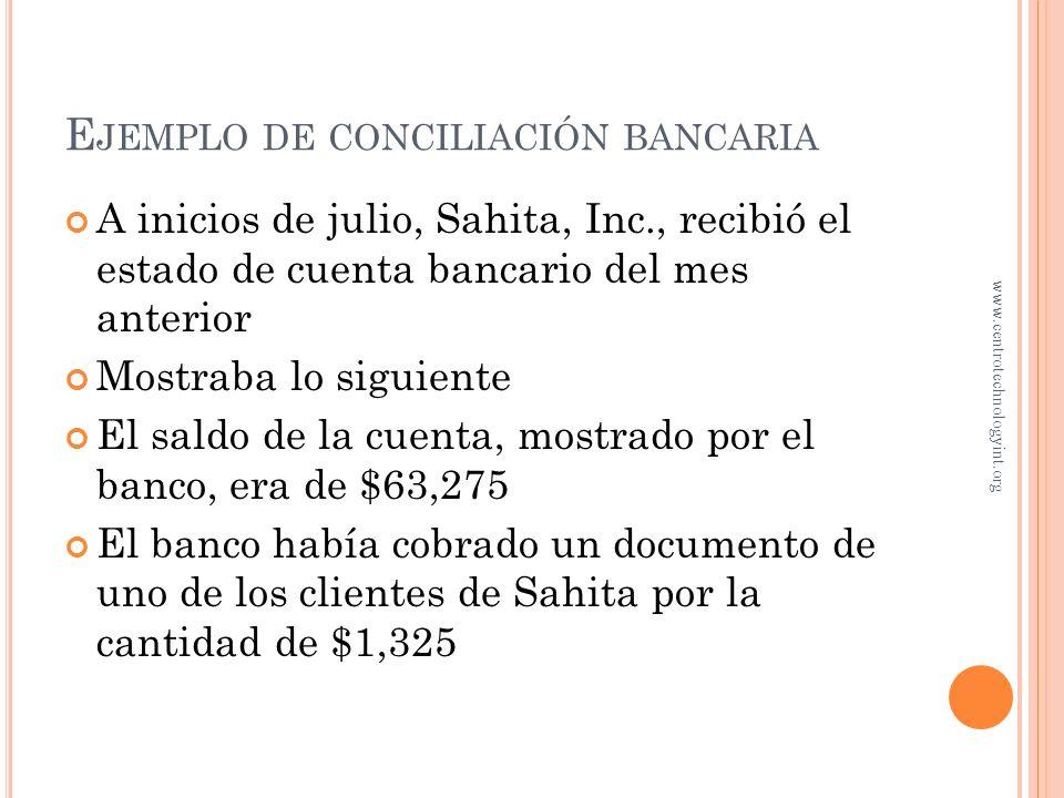 Ejemplo de conciliación bancaria
