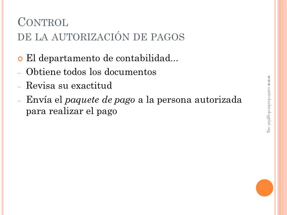 Control de la autorización de pagos