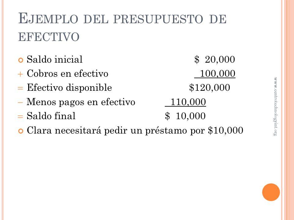 Ejemplo del presupuesto de efectivo