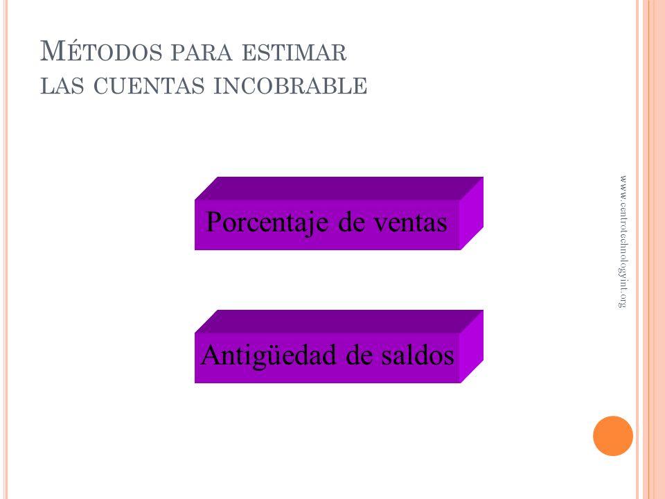 Métodos para estimar las cuentas incobrable