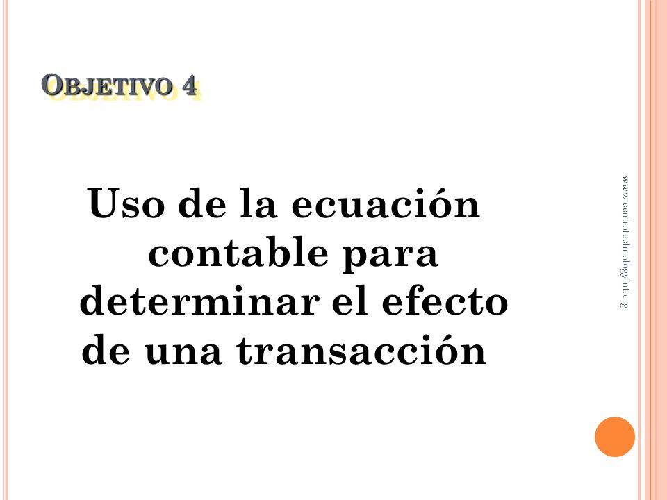 Uso de la ecuación contable para determinar el efecto