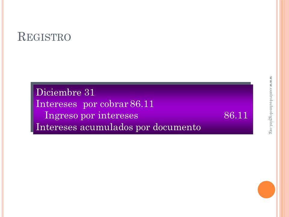 Registro Diciembre 31 Intereses por cobrar 86.11 Ingreso por intereses 86.11 Intereses acumulados por documento