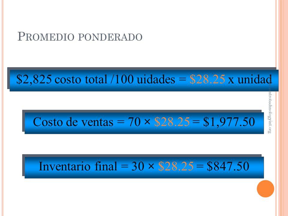 $2,825 costo total /100 uidades = $28.25 x unidad
