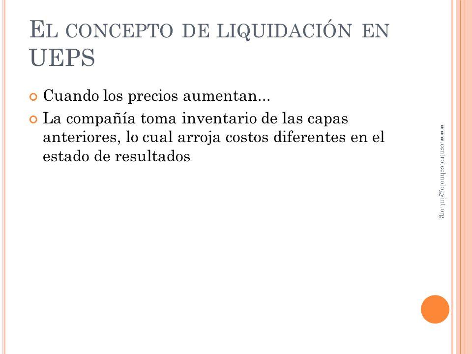 El concepto de liquidación en UEPS