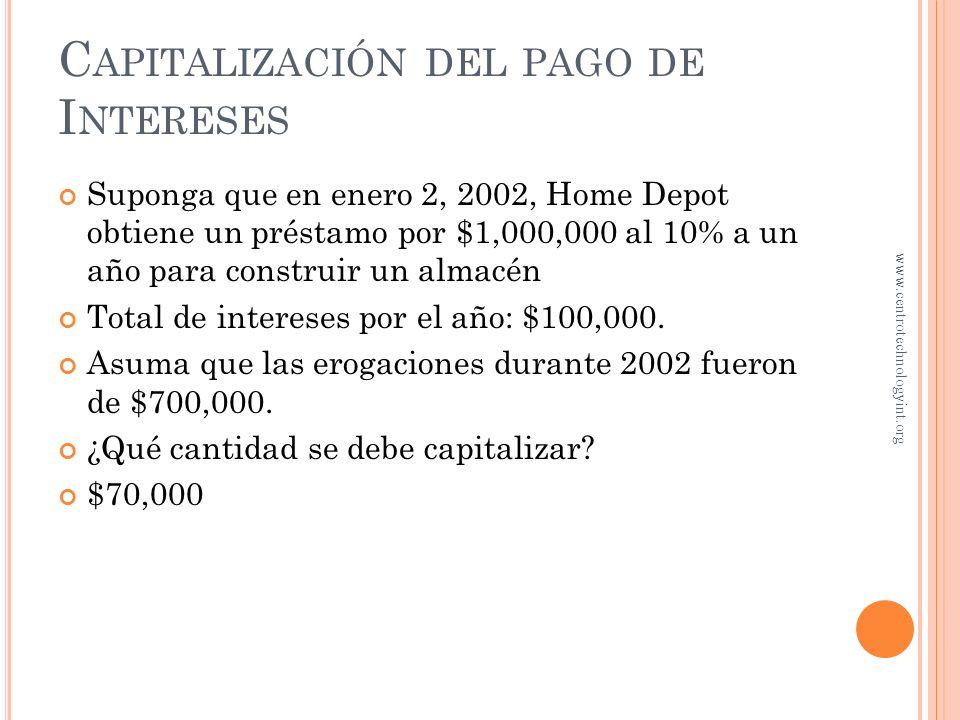 Capitalización del pago de Intereses