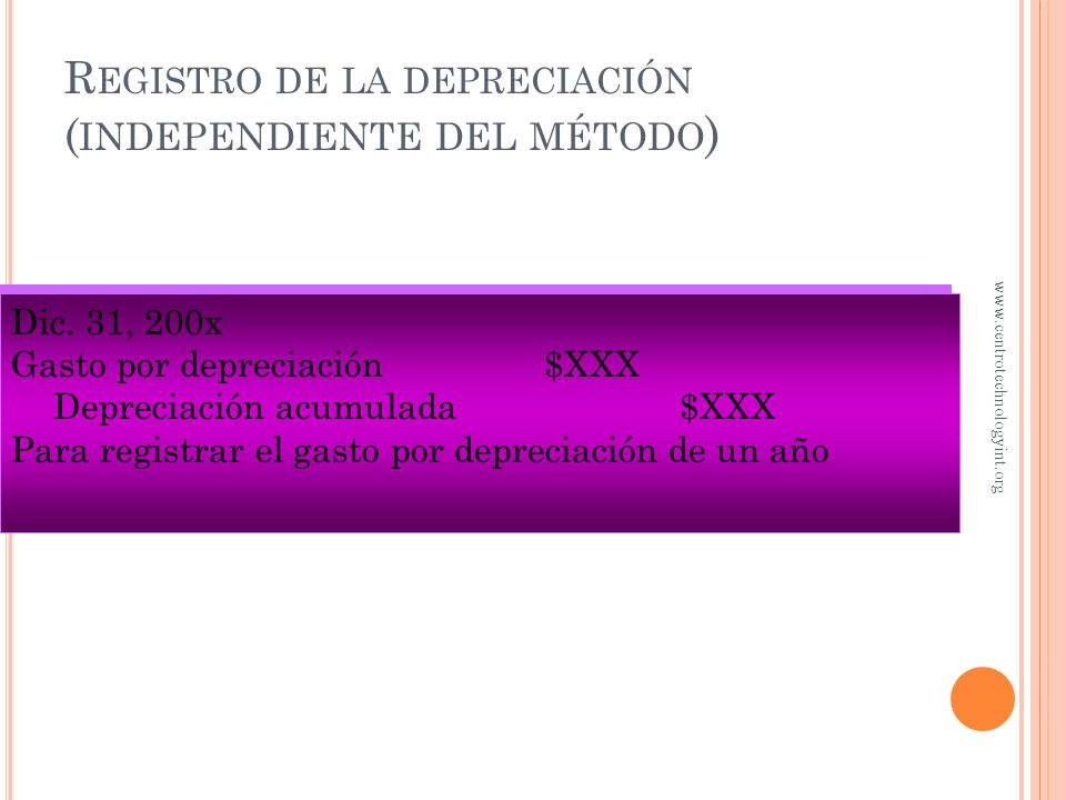 Registro de la depreciación (independiente del método)