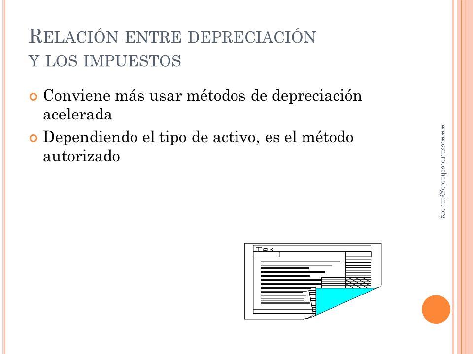 Relación entre depreciación y los impuestos