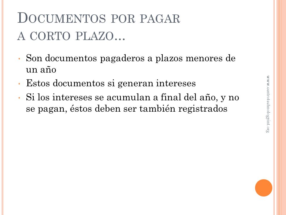 Documentos por pagar a corto plazo...