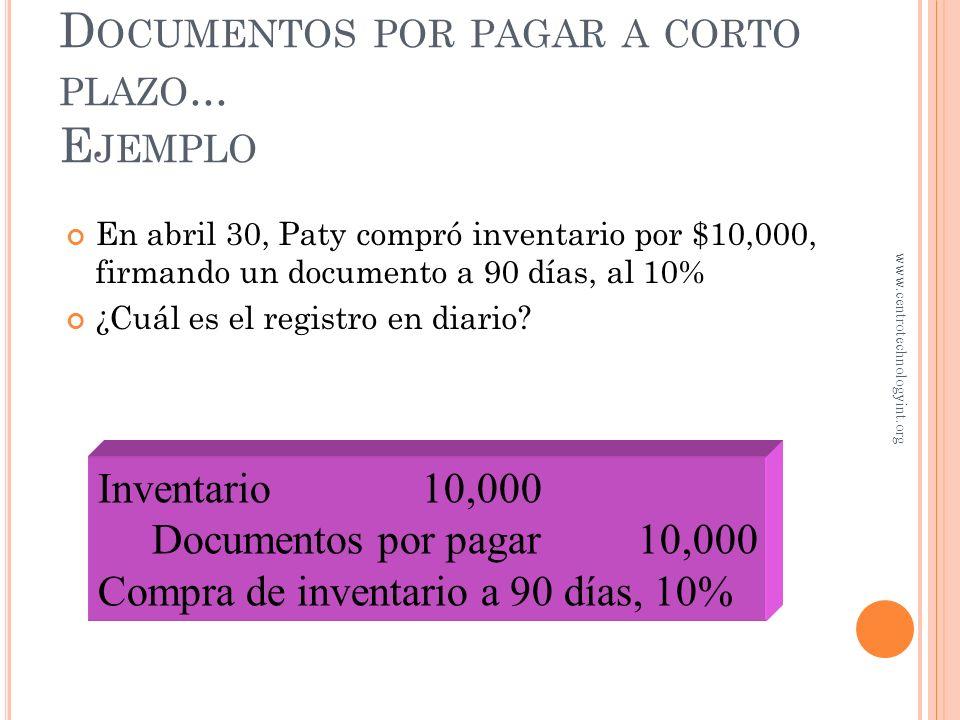 Documentos por pagar a corto plazo... Ejemplo