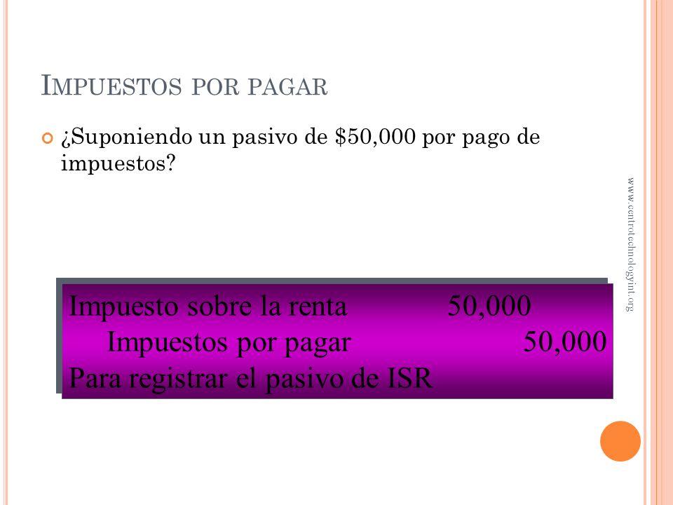 Impuesto sobre la renta 50,000 Impuestos por pagar 50,000