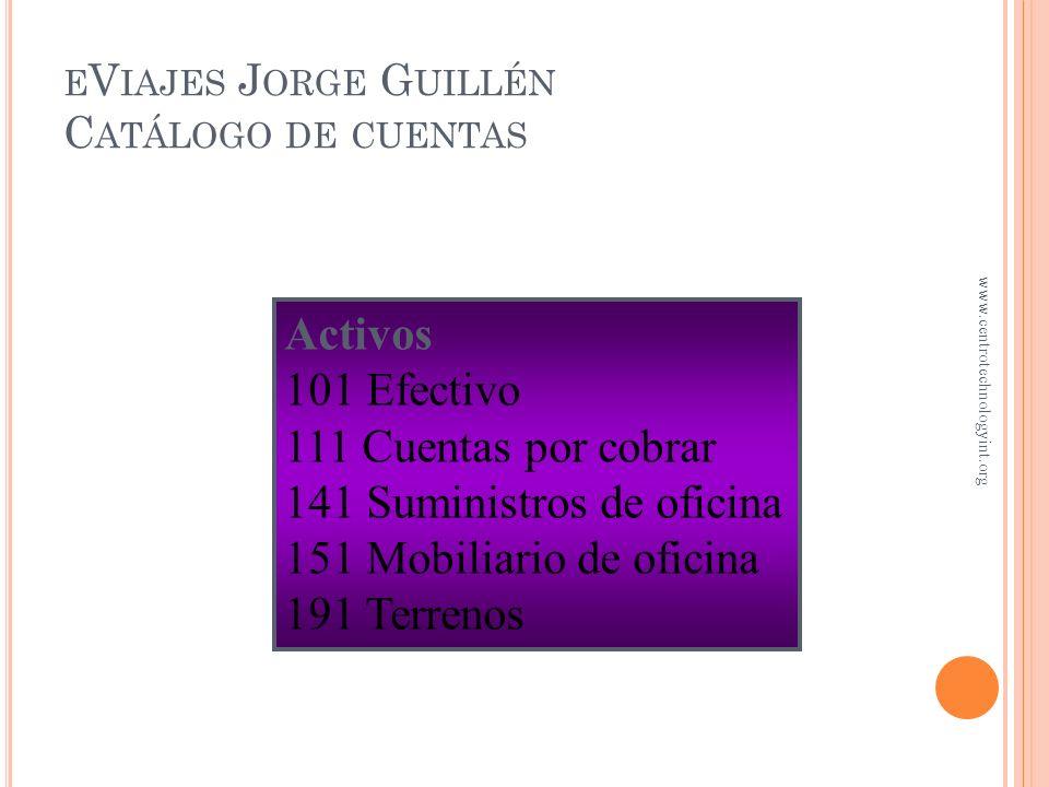 eViajes Jorge Guillén Catálogo de cuentas