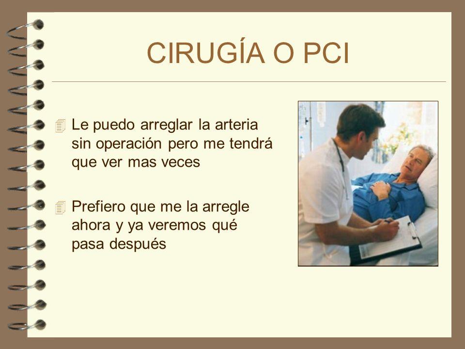 CIRUGÍA O PCILe puedo arreglar la arteria sin operación pero me tendrá que ver mas veces.