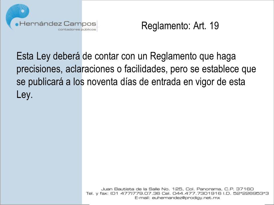 Reglamento: Art. 19