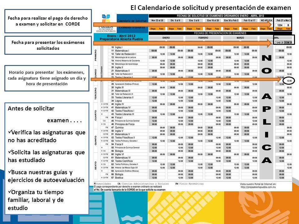 El Calendario de solicitud y presentación de examen