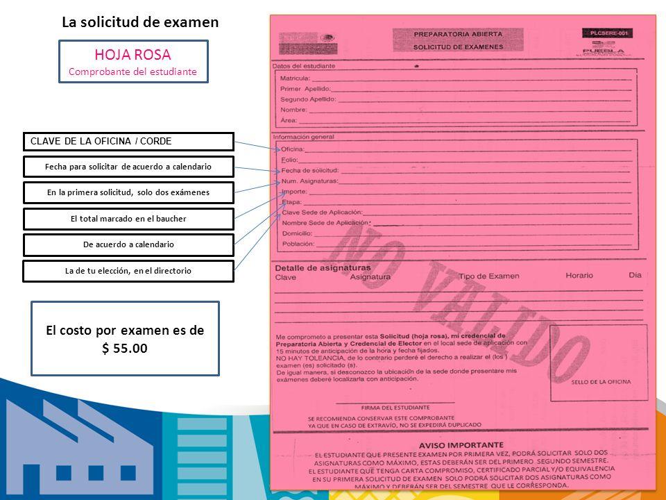 La solicitud de examen HOJA ROSA El costo por examen es de $ 55.00