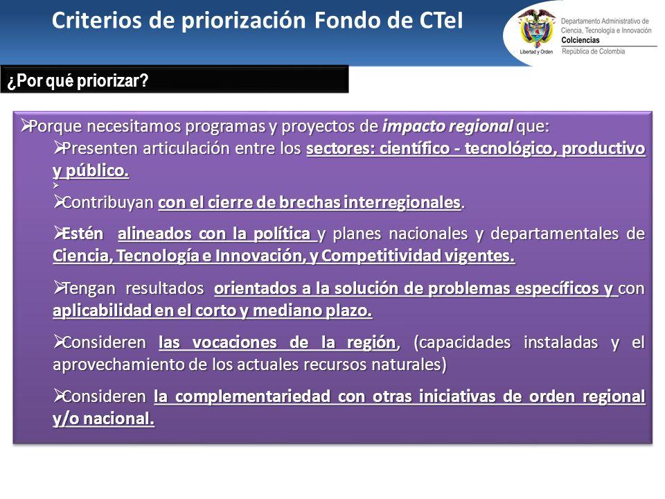 Criterios de priorización Fondo de CTeI